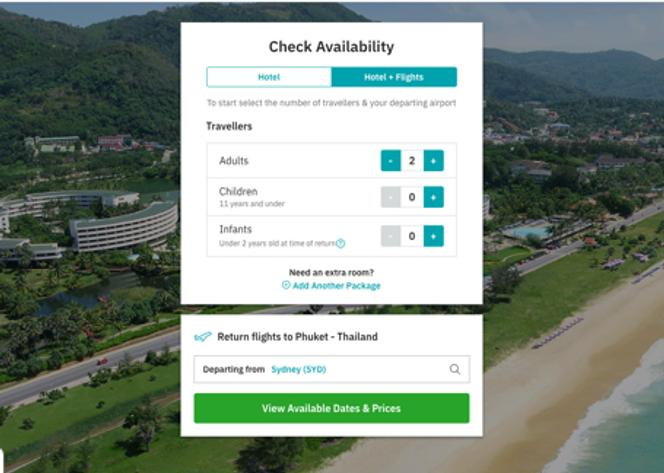 Add your number of travellers and select your departure airport