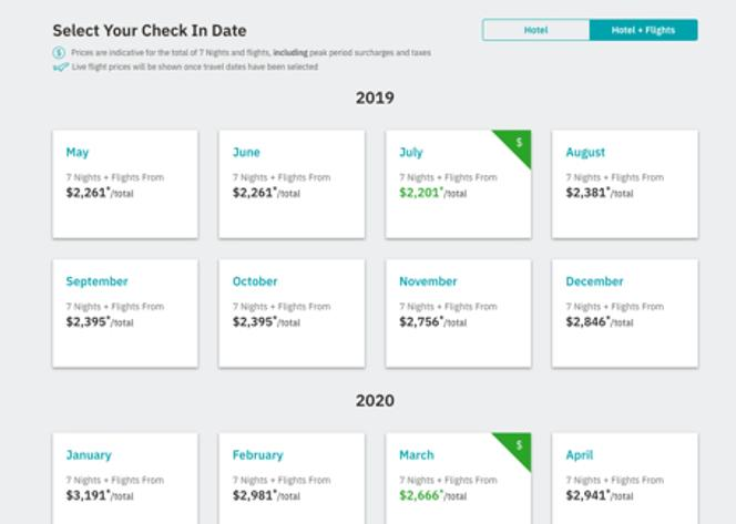 Select your check-in date