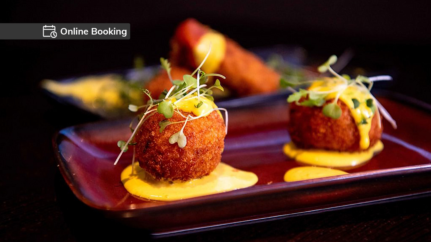 Prawn and chorizo paella balls with saffron aioli