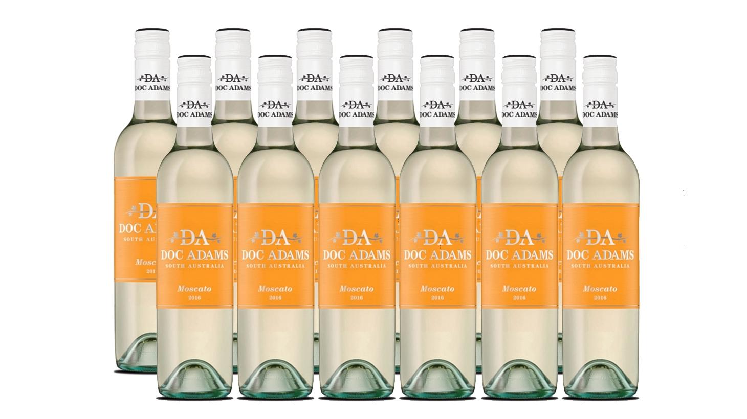 One dozen bottles of Doc Adams 2016 Moscato