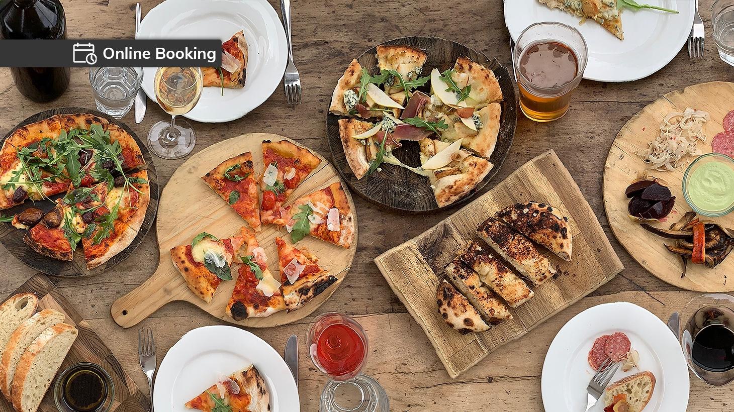 grazing menu item, pizza, wine tasting and glass of wine