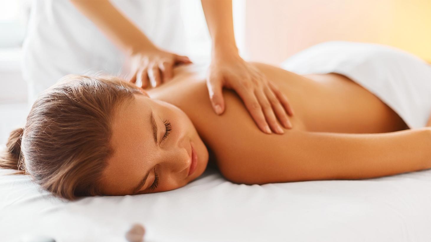 Woman having a relaxing back massage