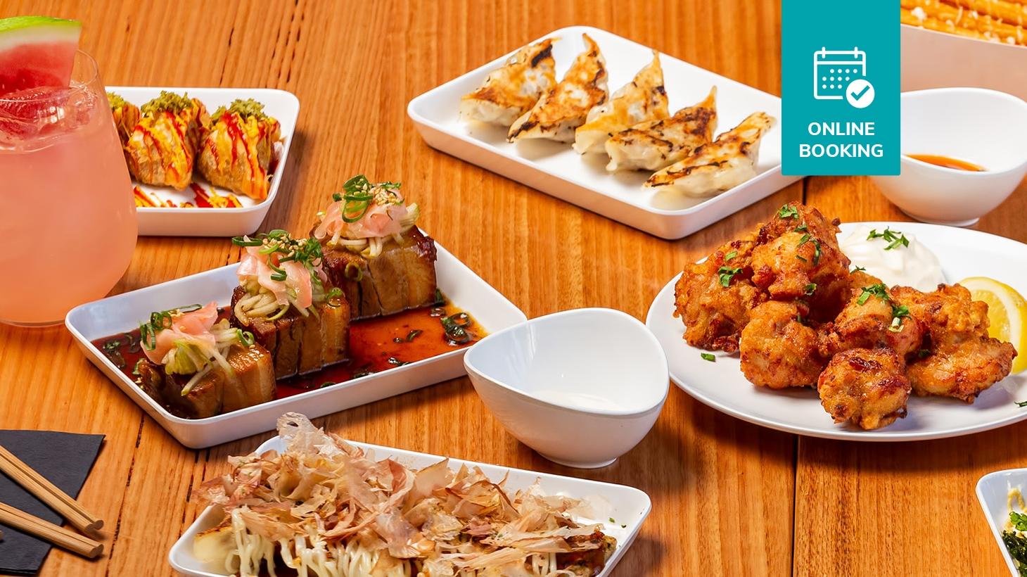 Variety of dishes including gyoza, chicken karaage, slow cooked pork belly and more at Harajuku Gyoza Beer Stadium
