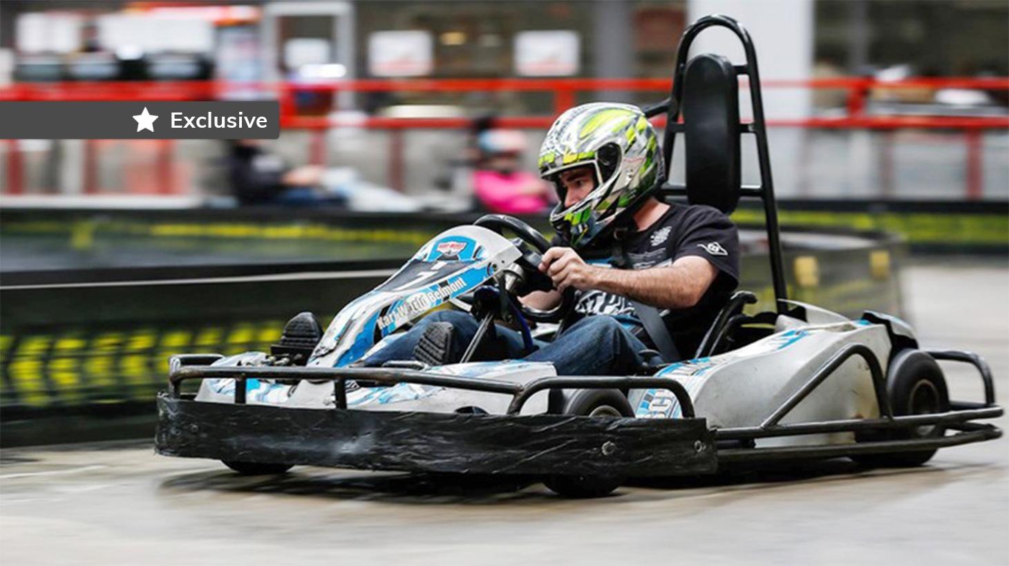 Man riding a Go-Kart doing a lap