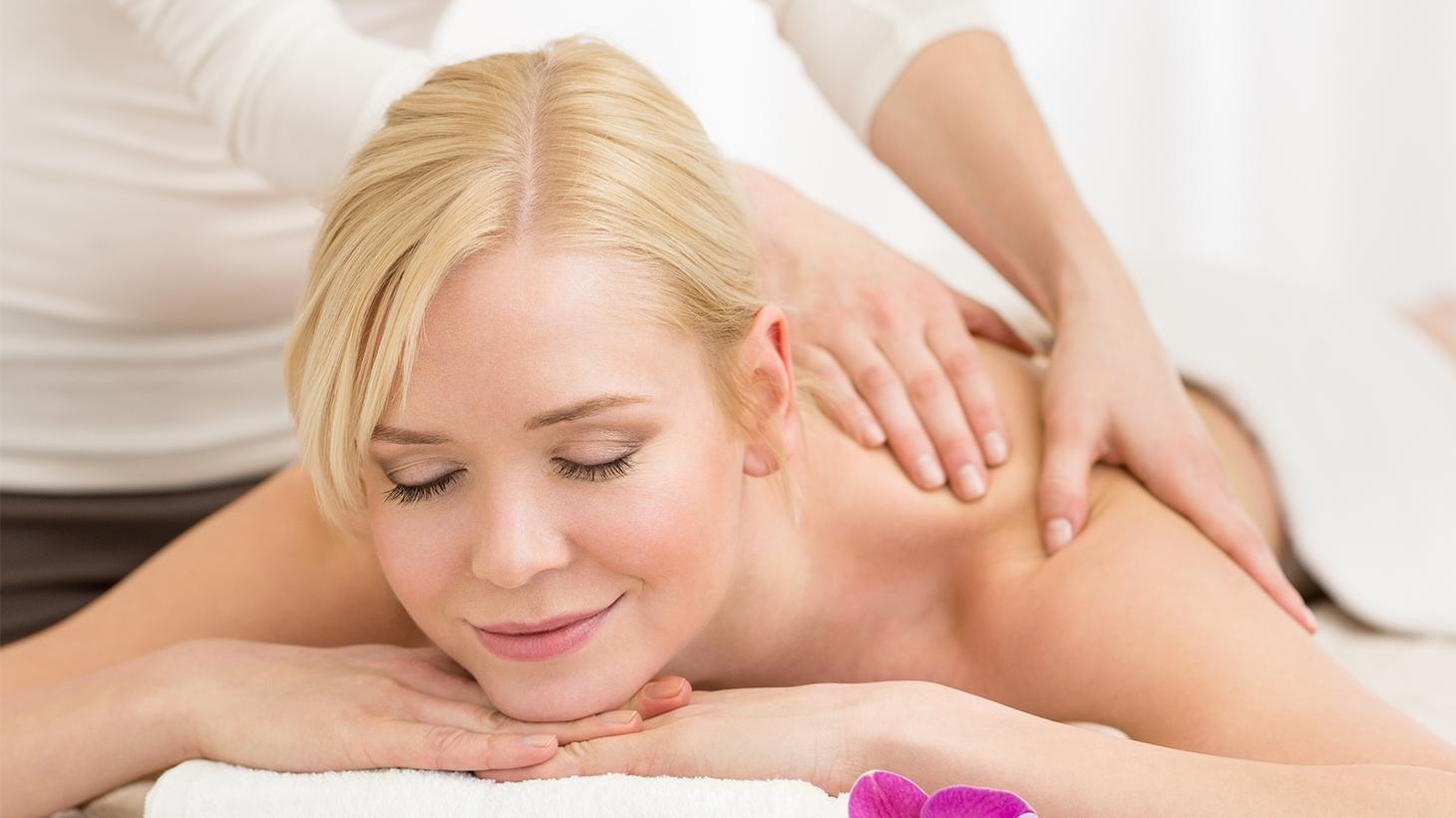 Blonde woman having a back massage
