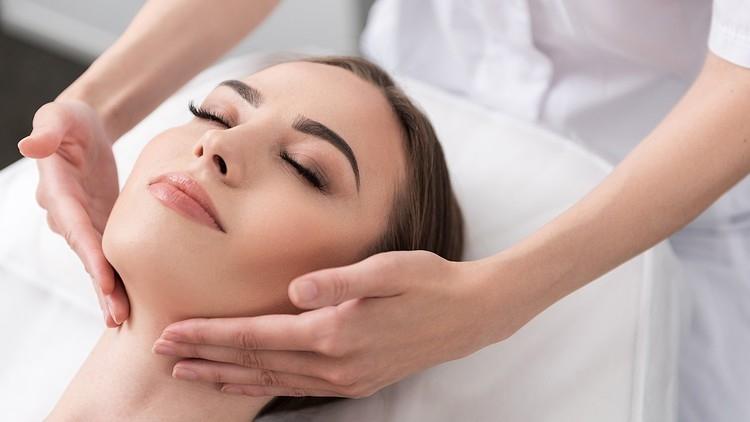 Woman having a facial treatment
