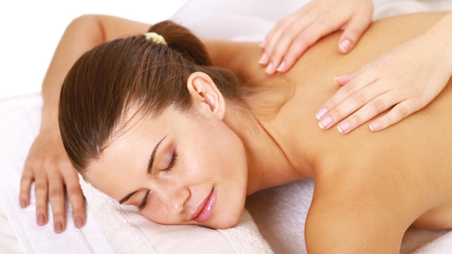 Woman having a relaxing upper body massage