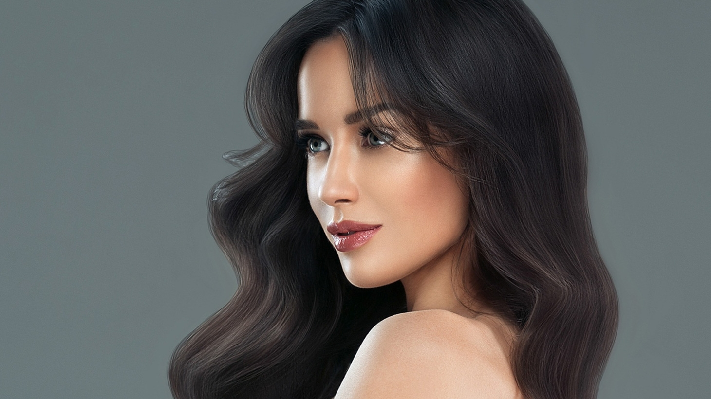 Woman with long wavy hair
