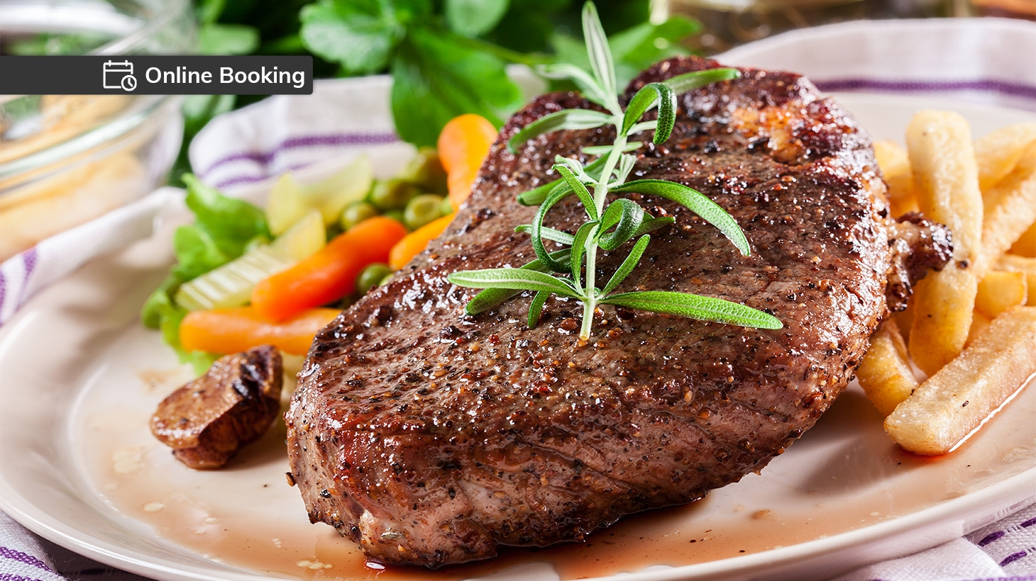Sirloin steak served with chips and salad