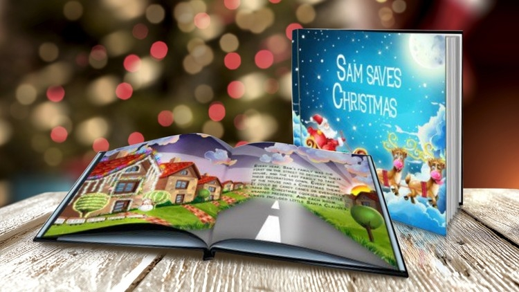 Personalised Christmas story book on top of wooden table
