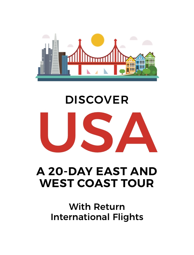20-Day East and West Coast USA Tour with International Flights: New York, Niagara Falls, San Francisco, Yosemite and More