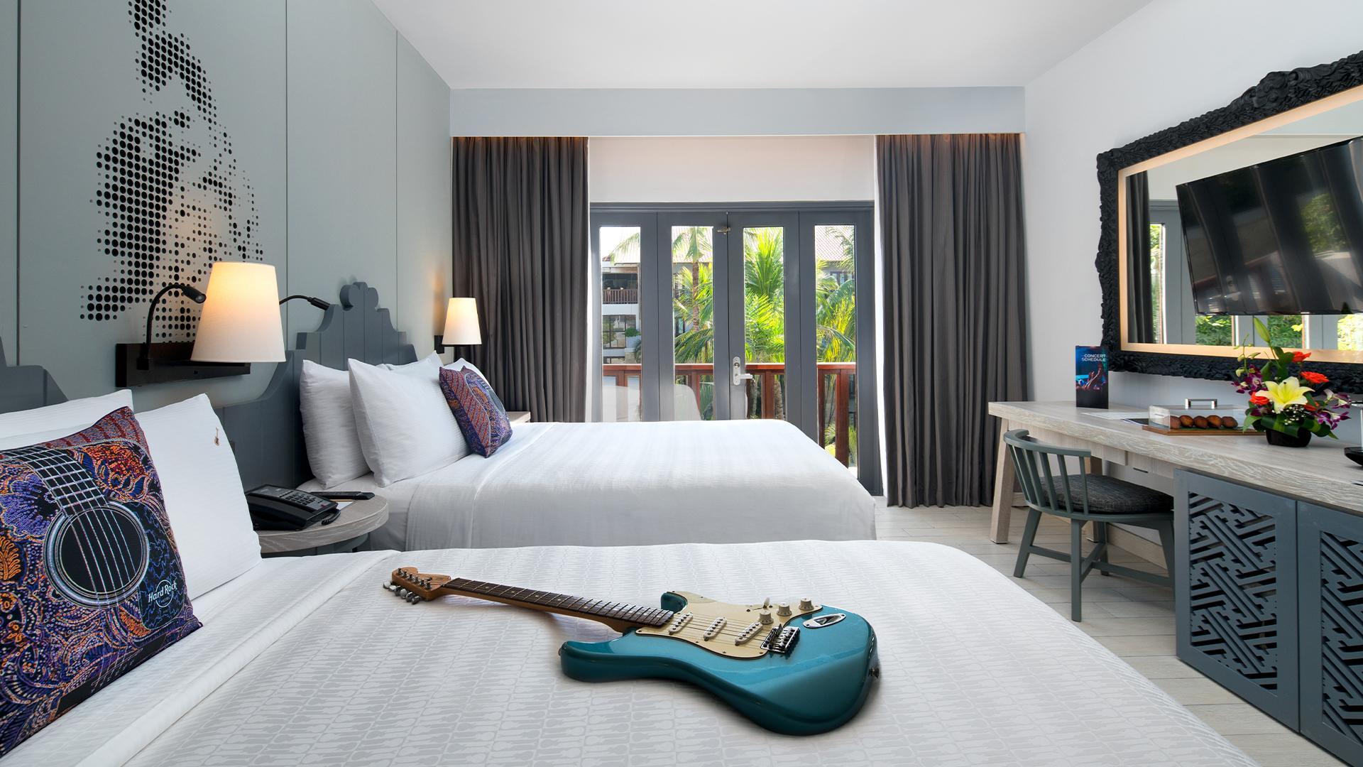 Deluxe Premium Room image 1 at Hard Rock Hotel Bali by Kabupaten Badung, Bali, Indonesia