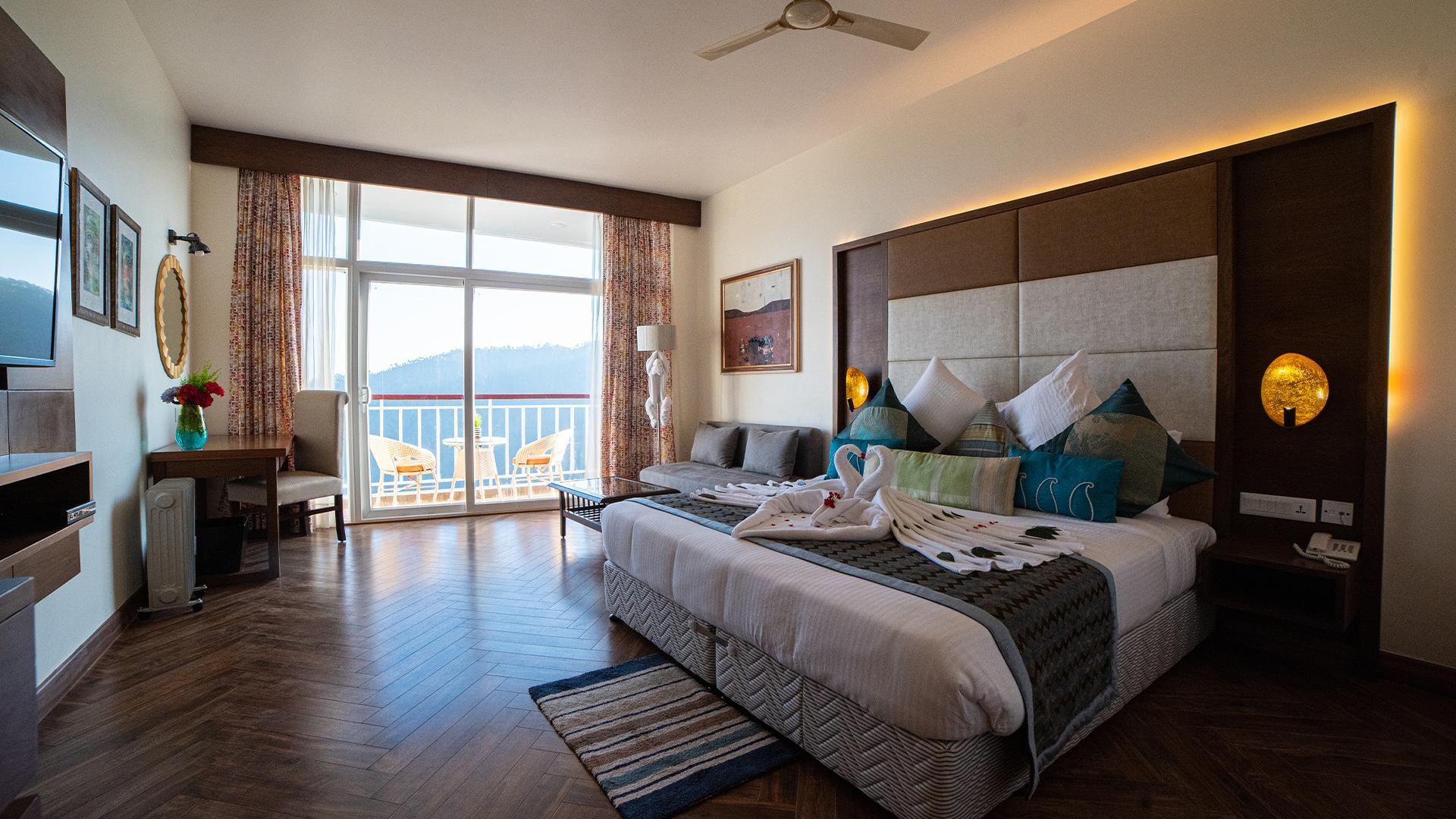 Deluxe Himalayan View Room with Balcony image 1 at jüSTa Mukteshwar Retreat & Spa by Nainital, Uttarakhand, India