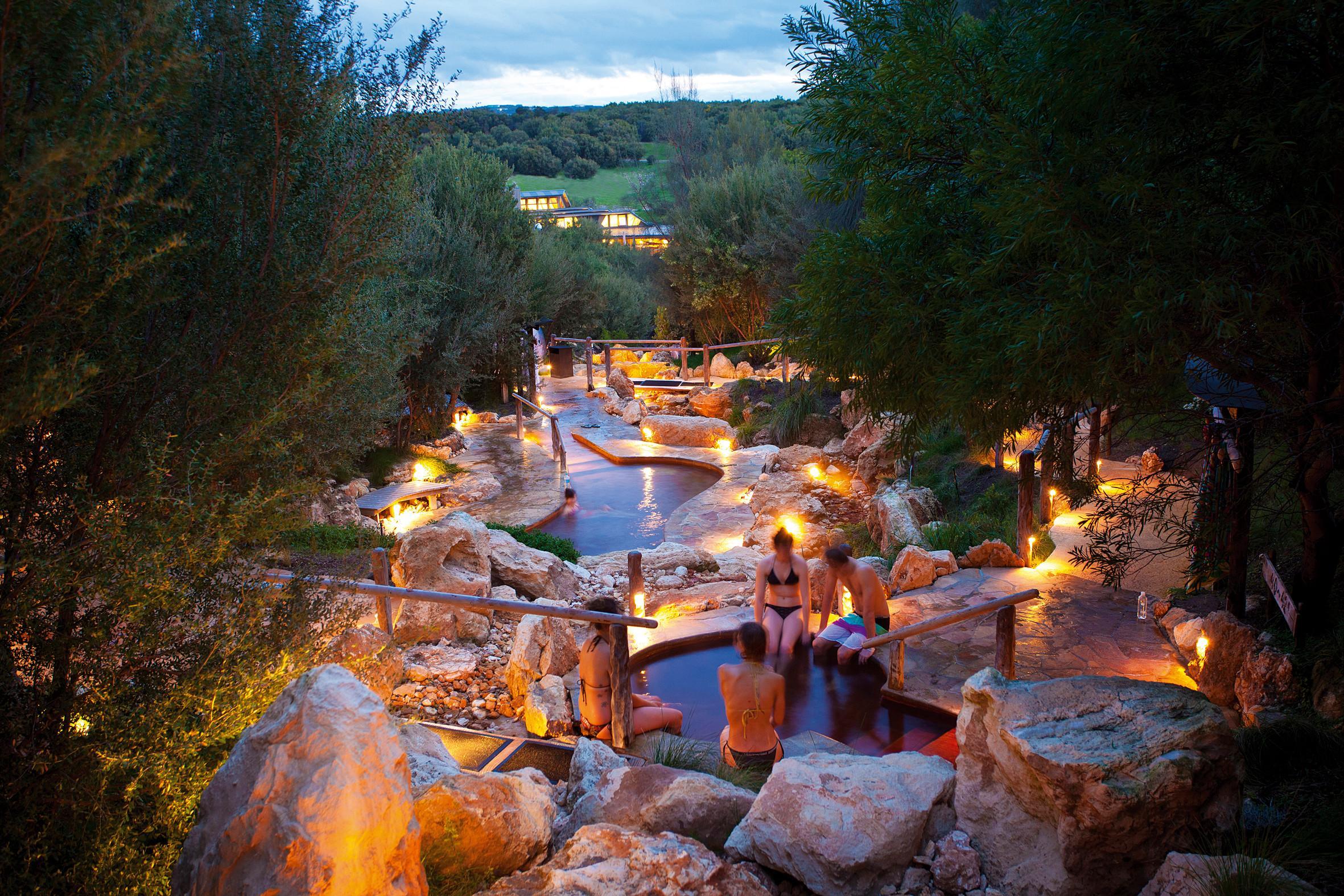 Peninsula Hot Springs at twilight